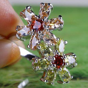 925 Sterling Silver Morganite Peridot Garnet Ring